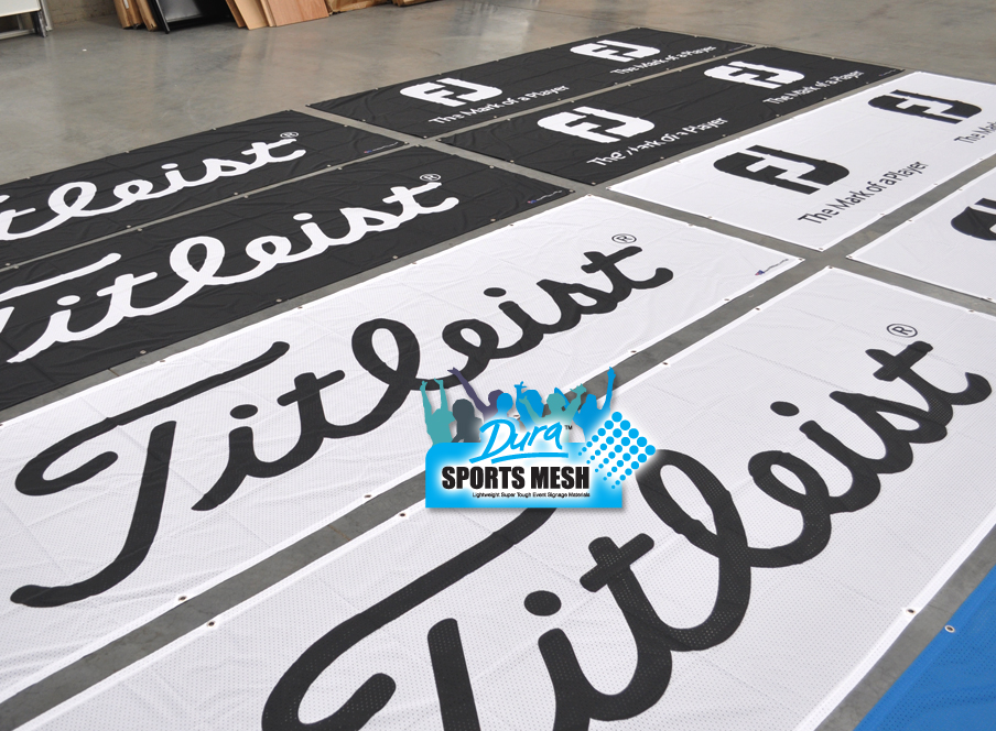 Outdoor printing on banner sign materials.
