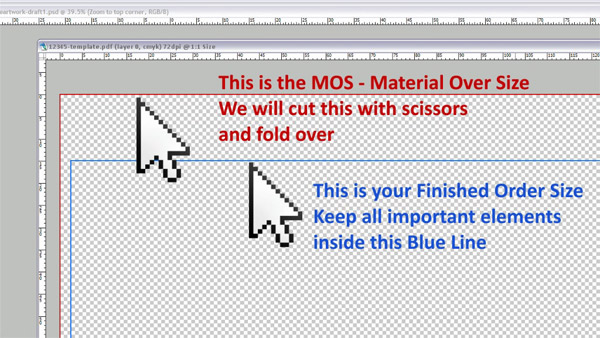 PS screenshot showing Material Over Size colors by the Easy Template Maker